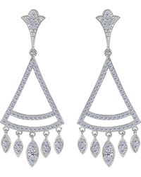 Jewelry Affairs - Sterling Silver And Cubic Zirconia Triangle Shaped Chandelier Earrings - Lyst