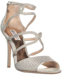 Badgley Mischka - Devon Strappy Peep Toe Dress Sandals, Platino - Lyst