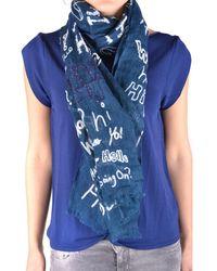 Altea - Women's Blue Linen Scarf - Lyst