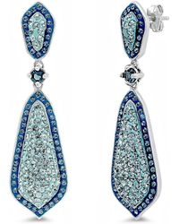 Amanda Rose Collection - Sterling Silver Blue Crystal Dangle Earrings With Swarovski Crystals - Lyst