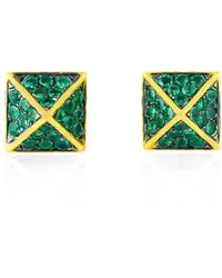 Socheec - Spike Studs In Emerald - Lyst