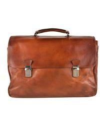 Brunello Cucinelli - Men's Large Brown Leather Briefcase - Lyst