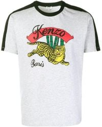 KENZO - Men's Grey Cotton T-shirt - Lyst
