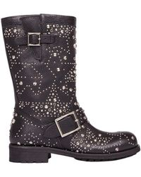 Jimmy Choo - Women's Black Leather Ankle Boots - Lyst
