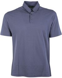 Zanone - Men's 811818z0380z0908 Blue Linen Polo Shirt - Lyst