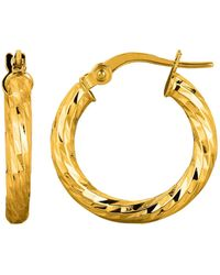 Jewelry Affairs - 14k Yellow Gold Shiny Diamond Cut Sparkle Round Hoop Earrings, Diameter 15mm - Lyst