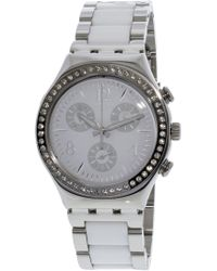 Swatch - Women's Made In White Ycs119g Silver Stainless-steel Swiss Quartz Fashion Watch - Lyst
