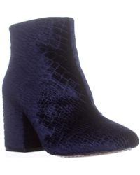 French Connection - Dilyla Block Heel Ankle Boots, Navy - Lyst