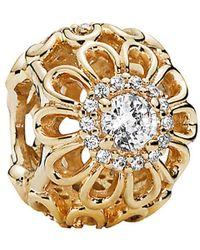 PANDORA - Floral Brilliance 14k Cz Charm - Lyst