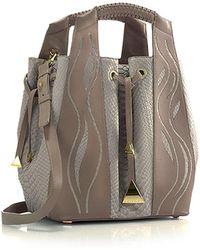 Nada Sawaya - Leah - Large Python Bucket Bag - Lyst