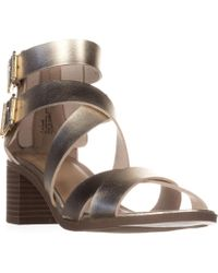Material Girl - Mg35 Danee Block Heel Strappy Sandals, Gold - Lyst