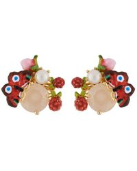 Les Nereides - Dazzling Discretion Butterfly Pearl And Bud On Stone Earrings - Lyst