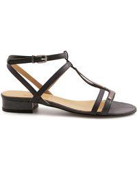 Leonardo Shoes - Women's Black Leather Sandals - Lyst