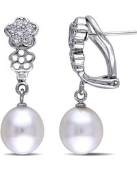 Catherine Malandrino - Freshwater Cultured Pearl Earrings With Cz In Sterling Silver - Lyst