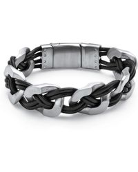Palmbeach Jewelry - Men's Woven Leather Bracelet In Brushed Stainless Steel - Lyst