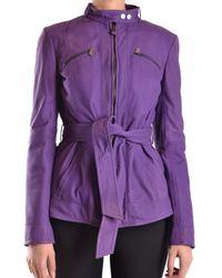 Peuterey - Women's Purple Leather Coat - Lyst
