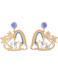 Les Nereides - Unique Unicorn And Rainbow Earrings - Lyst