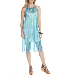 Blue Plate - Boho Blue & Green Sleeveless Keyhole Side Slit Halter Mesh Dress - Lyst