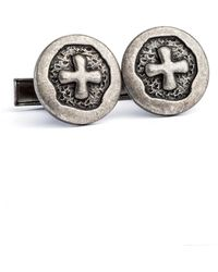 English Laundry - Pewter Cross Cuffliks - Lyst