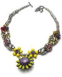 Otazu - Swarovski Crystal Daisy Flower Necklace - Lyst