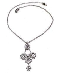 Otazu - Swarovski Crystal Floral Motif Pendant On Crystal Chain - Lyst