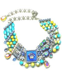 Otazu - Swarovski Crystal Crown And Bead Choker - Lyst