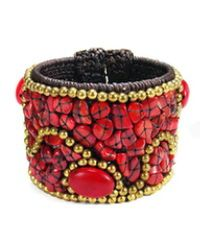 Aeravida - Cotton Rope Mosaic Stone Brass Wire Adjustable Cuff - Lyst