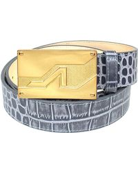Apolinar - Grey Embossed Croc Leather Gold Apoli Plaque Buckle - Lyst