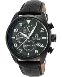 Ben Minkoff - Martin Multi-function Black Genuine Leather Blue Dial Black Ip Ss - Lyst