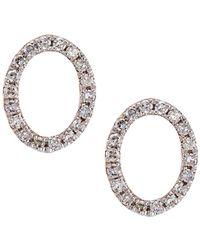 CR By Casa Reale - 14 K Gold White Diamonds O Initial Stud Earrings - Lyst