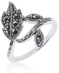 Aeravida - Dazzling Wrap Around Leaf-leaves Marcasite Sterling Silver Ring - Lyst