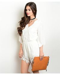 Leather And Sequins - White Lace Bohemian Romper - Lyst