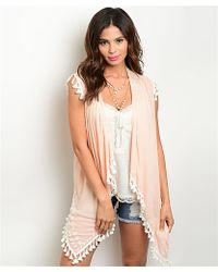 Leather And Sequins - Peachy Pink Tassel Boho Vest - Lyst