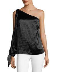 Rebecca Minkoff - Nash One-shoulder Crinkled-satin Top - Lyst