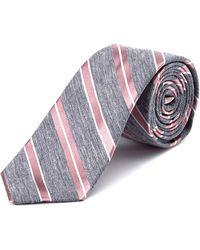 W.r.k. - W.r.k Grey Striped Linen & Silk Tie - Lyst