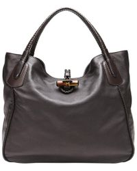 gucci bags prices. gucci | dark brown soft deer leather large hip bamboo tote bag lyst bags prices d