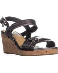 COACH - Hinna Wedge Ankle Buckle Platform Sandals, Pewter - Lyst