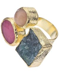 Jewelista - 18k Gold Plate, Quartz & Druzy Floating Ring - Lyst