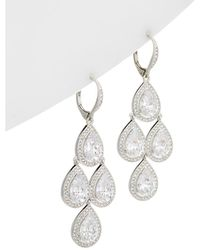 Nadri - Rhodium Plated Cz & Swarovski Crystal Drop Earrings - Lyst