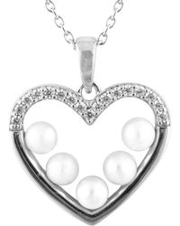 Splendid - A Dangling Heart Shaped Small White Pearl Pendant Set In Sterling Silver - Lyst