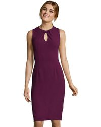 Adrianna Papell - Sleeveless Textured Sheath Dress With Knotted Keyhole Neckline - Lyst