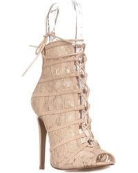 Chinese Laundry - Jingle Caged Lace Up Booties, Lace Nude - Lyst