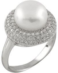 Splendid - Fancy Halo Cz Pearl Ring Set In Sterling Silver - Lyst