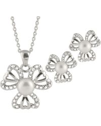 Splendid - Heart Shaped Cz Pearl Pendant And Earring Set - Lyst