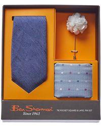 Ben Sherman - 3pc Harris Blue Linen & Silk-blend Tie Set - Lyst