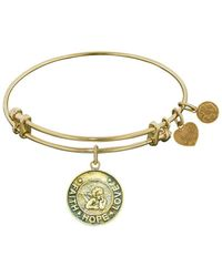 Angelica - Stipple Finish Brass Angel, Faith, Hope, Love Bangle Bracelet, 7.25 - Lyst