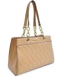 Adrienne Vittadini - Signature Embossed Vegan Leather Satchel - Lyst