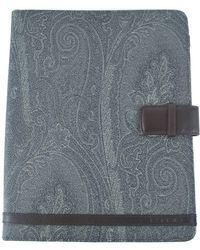 Etro - Grey Paisley Print Brown Leather Panelled Ipad Case - Lyst