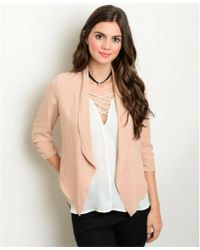 Leather And Sequins - Blush Nude Blazer Jacket - Lyst