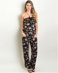 Leather And Sequins - Flower Child Black Jumpsuit - Lyst